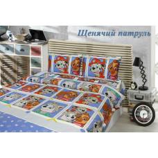 Детская постель Щенячий патруль на клетке синий