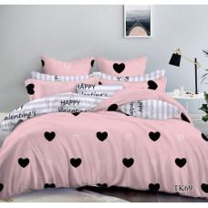 Постельный комплект Бархатное сердце розовое